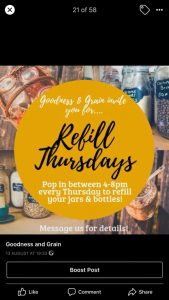 Refill Thursdays with Goodness & Grain @ Holly's House
